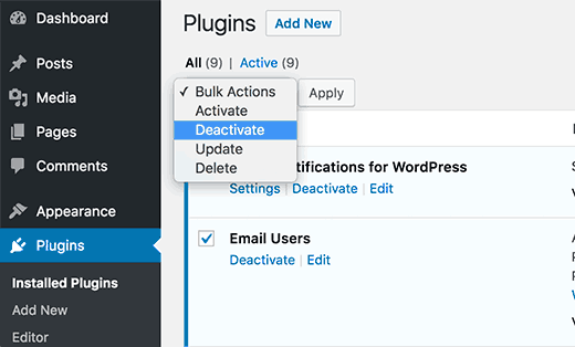 Deactivate all plugins installed on the website